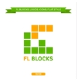 Logo letter FL in the form of blocks and cubes vector image
