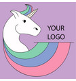 logo with a unicorn for your company pegasus icon vector image vector image