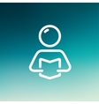 Man reading book thin line icon vector image