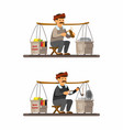 man selling baso cuanki is meatball from indonesia vector image vector image