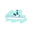 man traveling on yacht at sea on summertime vector image vector image