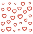 many red hearts on white background for valentines vector image