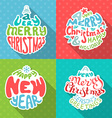 Merry Christmas And Happy New Year letterings vector image