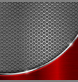 metal perforated background with red wave steel vector image vector image