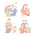 mother father son and daughter family hugging vector image vector image