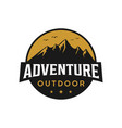 mountain outdoor adventure badge logo design vector image