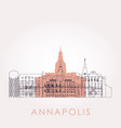 outline annapolis skyline with landmarks vector image vector image
