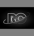 rc r c letter alphabet logo black white icon vector image vector image