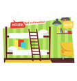 room in hostel bed and breakfast vector image