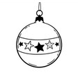 round christmas ball with stars pattern vector image