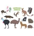 set australia animals isolated on a white