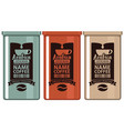set labels coffee in iron banks with grain and cup vector image