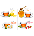set of backgrounds with cups of tea vector image vector image