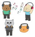 set of cat listening music vector image