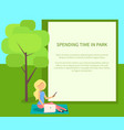 spending time in park conceptual banner with woman vector image