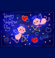 valentines day card with cute cupids and hearts on vector image vector image