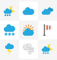 weather flat icons set collection of snow cloud vector image vector image