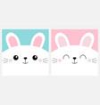 white bunny rabbit head face square icon set cute vector image vector image