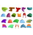 winter headwear icons set cartoon style vector image