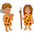 cute couple ancient human cartoon vector image