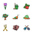 grower icons set cartoon style vector image