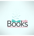 books cafe logo in modern flat design Book vector image
