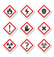Danger warning attention square icons set vector image