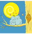 Loving couple elephants on a branch of a large vector image