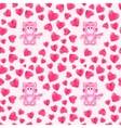 seamless pattern with cat and hearts vector image