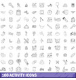 100 activity icons set outline style vector image vector image