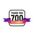 700 followers number with color bright ribbon vector image vector image
