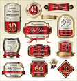 Anniversary red and gold label set vector image vector image