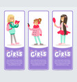 beautiful smiling school girls banners set flat vector image vector image