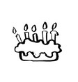 birthday cake with candles grunge icon vector image
