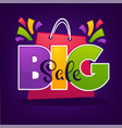 bright big sale background with shopping bags and vector image