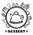 cartoon teapot with food on white background hand vector image vector image