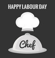 chef hat uniform with tray server vector image