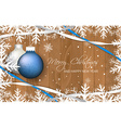Christmas baubles and ribbons on wooden texture vector image vector image