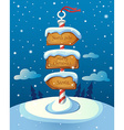 Christmas sign post with three direction boards on vector image vector image