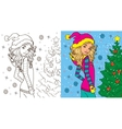 Colouring Book Of Girl In Winter vector image
