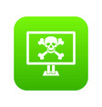 computer monitor with a skull and bones icon vector image