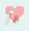 concept love is work couple in love build vector image vector image