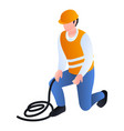 construction man with rope icon isometric style vector image vector image