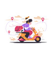 delivery man riding motorcycle vehicle vector image