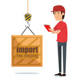 delivery worker with container in hook vector image vector image