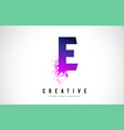 e purple letter logo design with liquid effect vector image vector image