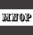 folk alphabet ornamental floral letter m n o p vector image vector image
