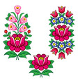 folk art polish designs with flowers vector image