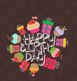 Greeting birthday card with cute little cakes vector image vector image