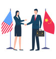 handshake business partners china and us flags vector image vector image